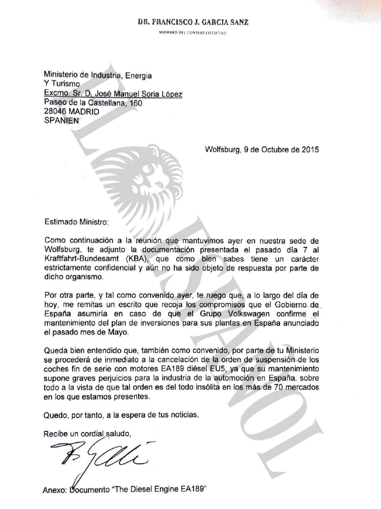 Carta del vicepresidente mundial de compras de Volkswagen al ministro de Industria.