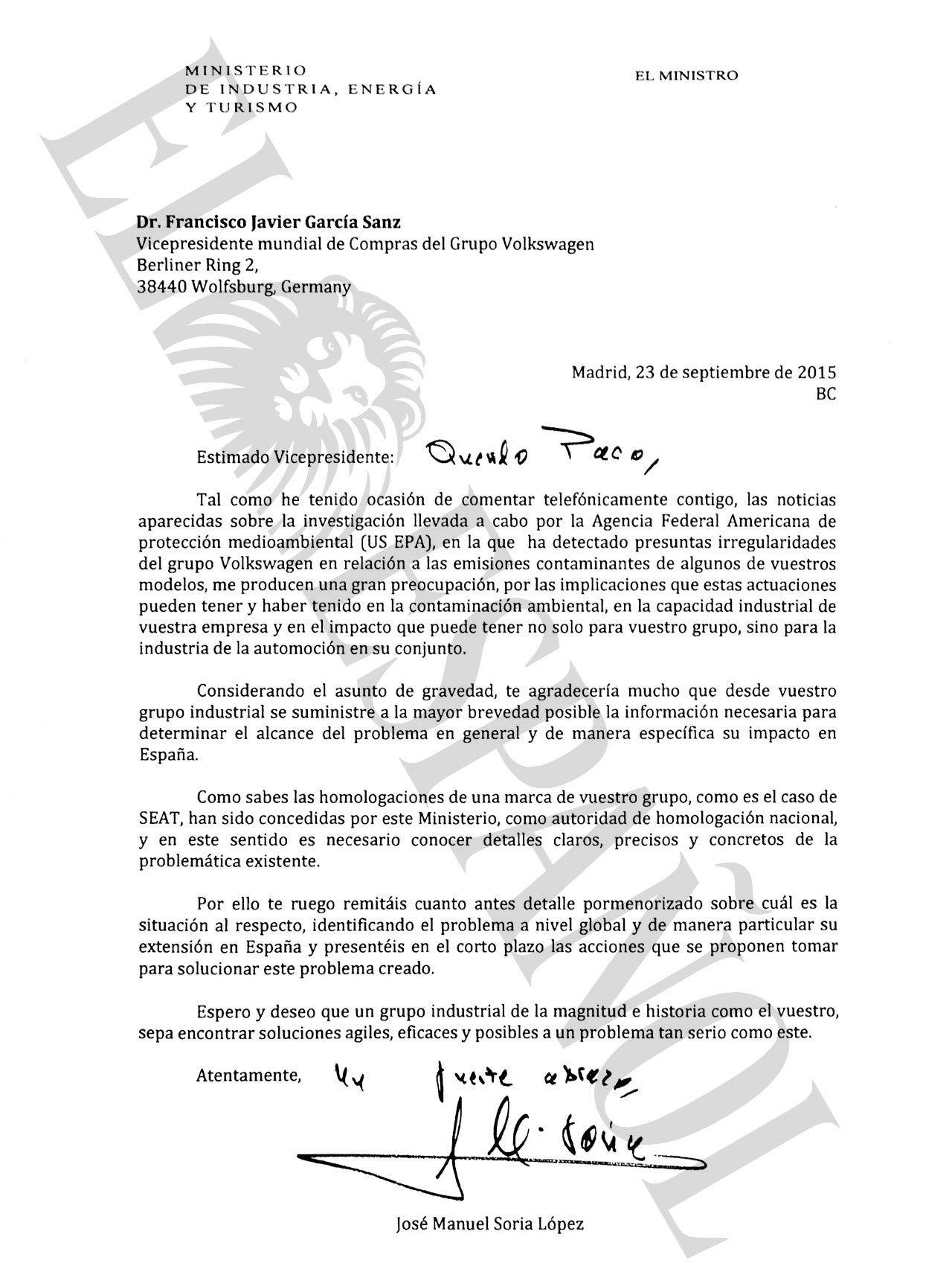 Carta del ministro Soria a los responsables de la empresa alemana.