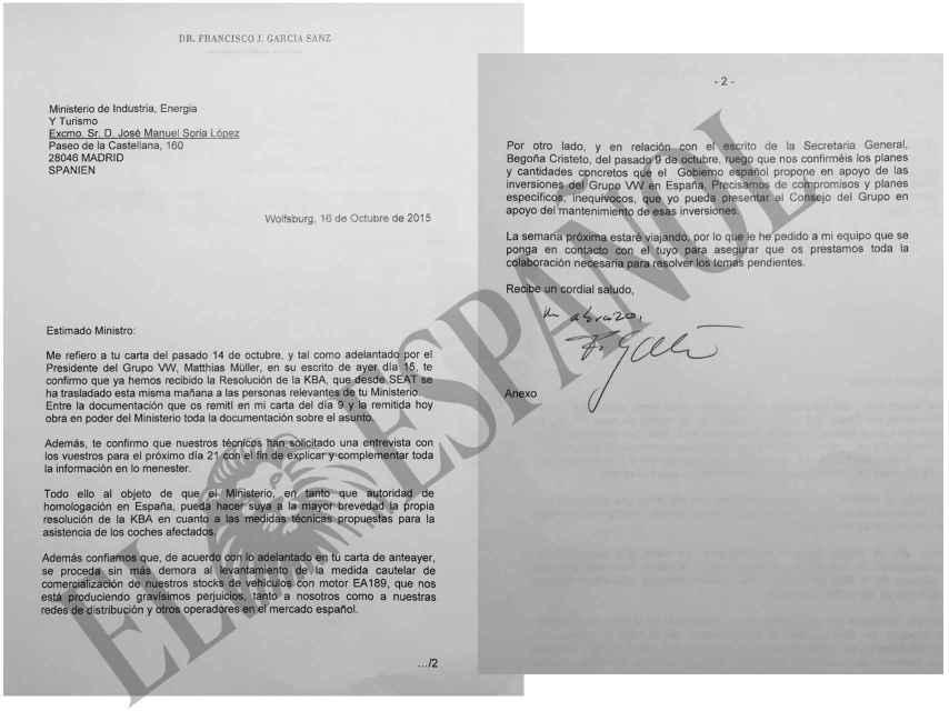 Otra de las cartas presentadas en el procedimiento judicial.