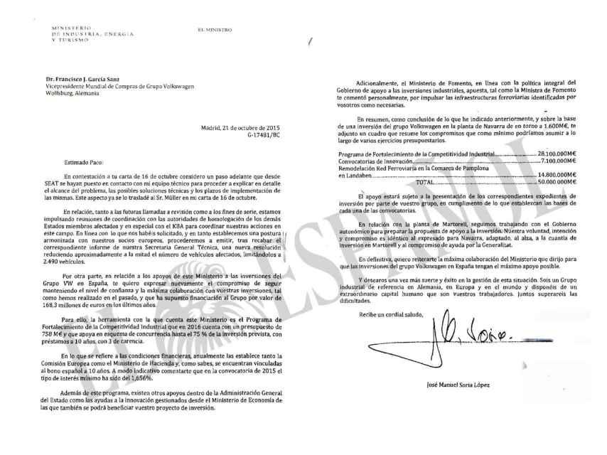 Última respuesta del ministro a VW.
