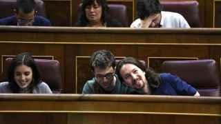 Pablo Iglesias e Íñigo Errejón en el Congreso de los Diputados