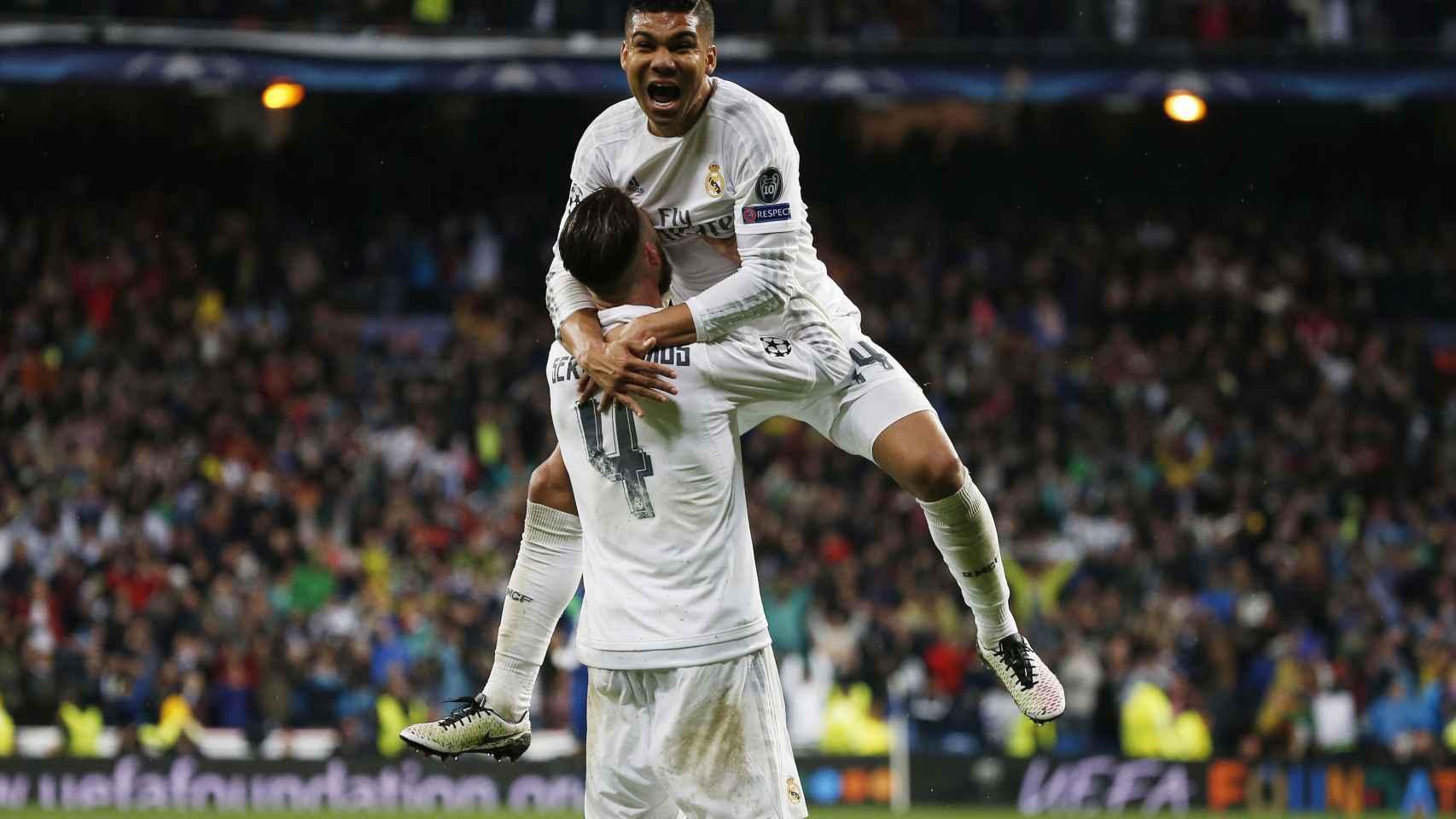 Celebración de la victoria ante el Wolfsburgo.