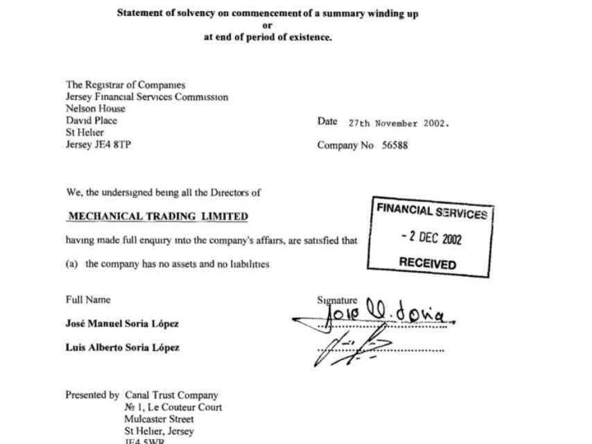 Documento firmado por el ministro Soria y su hermano.