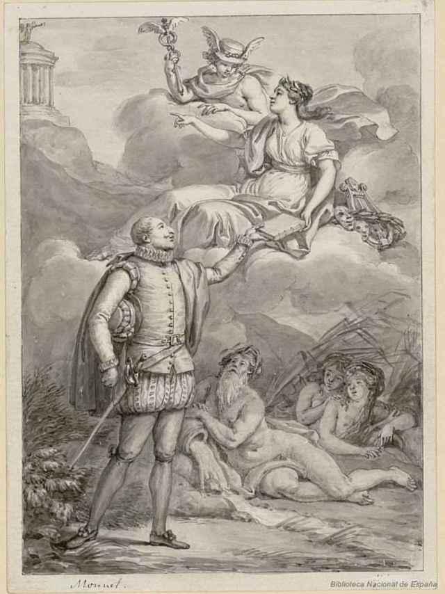 Cervantes y su musa.