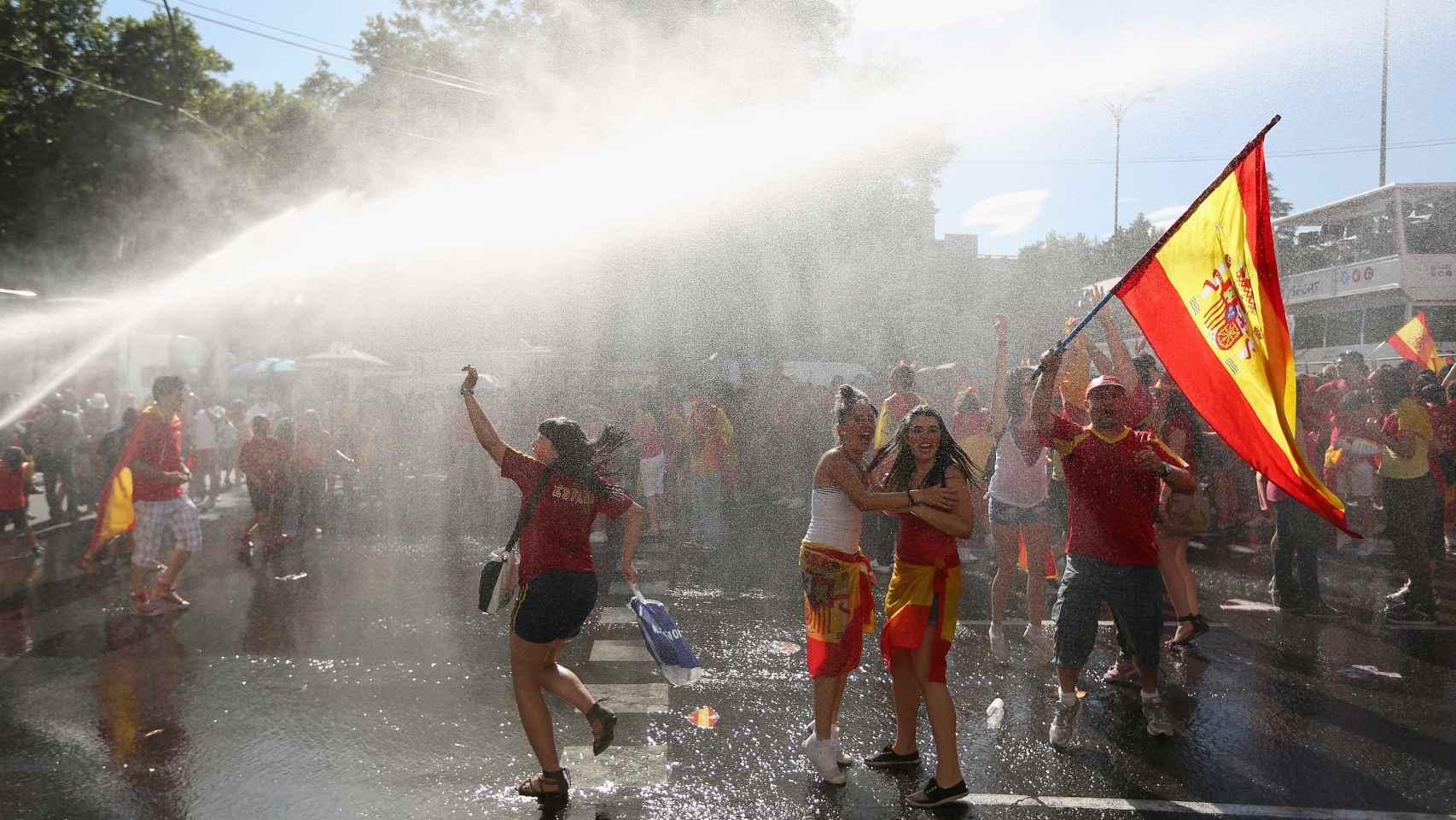 Celebración en Madrid el 2 de julio de 2012 tras la victoria en la Euro.