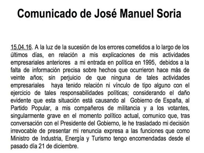Comunicado de José Manuel Soria.