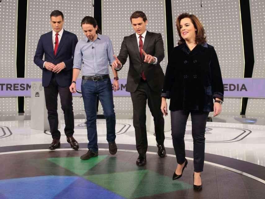 Pedro Sánchez, Pablo Iglesias, Albert Rivera y Soraya Sáenz de Santamaría.