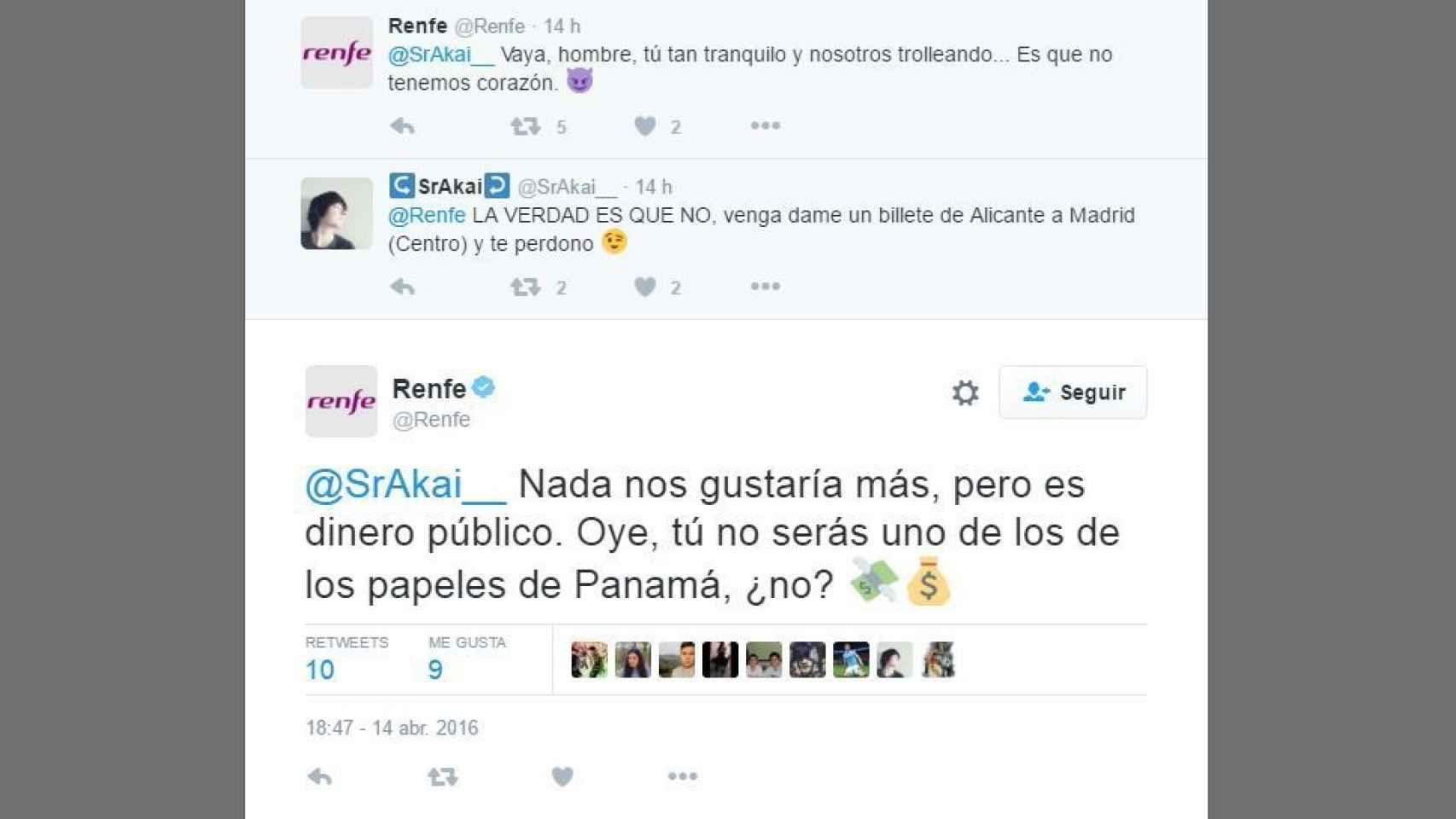 """La cuenta de Twitter de Renfe """"trolea"""" a un usuario"""