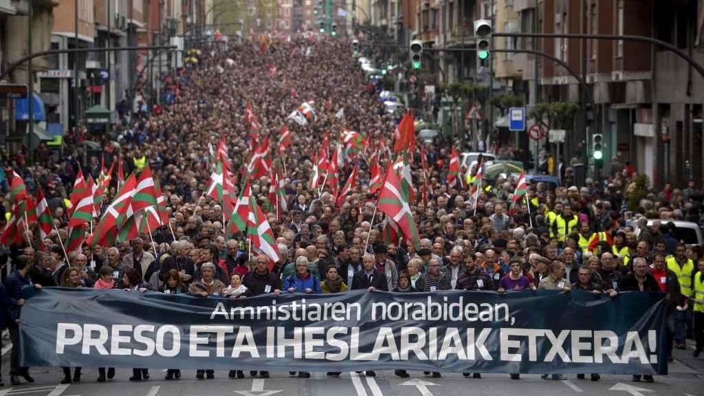 Manifestación celebrada en Bilbao, en abril de este año, a favor de los presos de ETA.