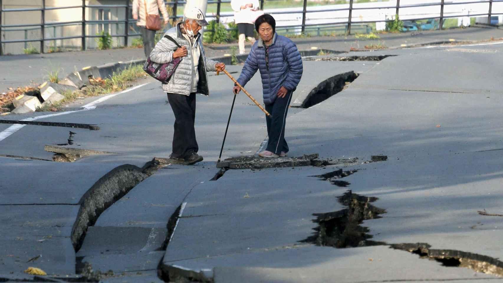 Desperfectos en la ciudad de Mashiki, en la prefectura japonesa de Kumamoto.