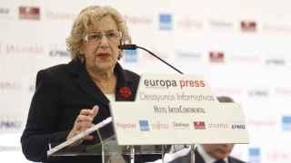 Manuela Carmena durante el desayuno de Europa Press