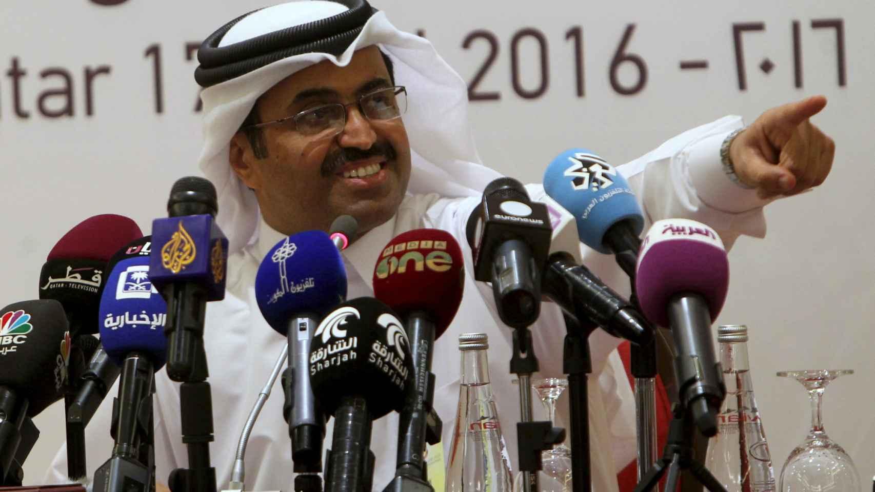 El ministro cataría Al-Sada, en la rueda de prensa de la OPEP.