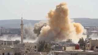 Bombardeo en Daraya (Siria) a finales de febrero de 2016.