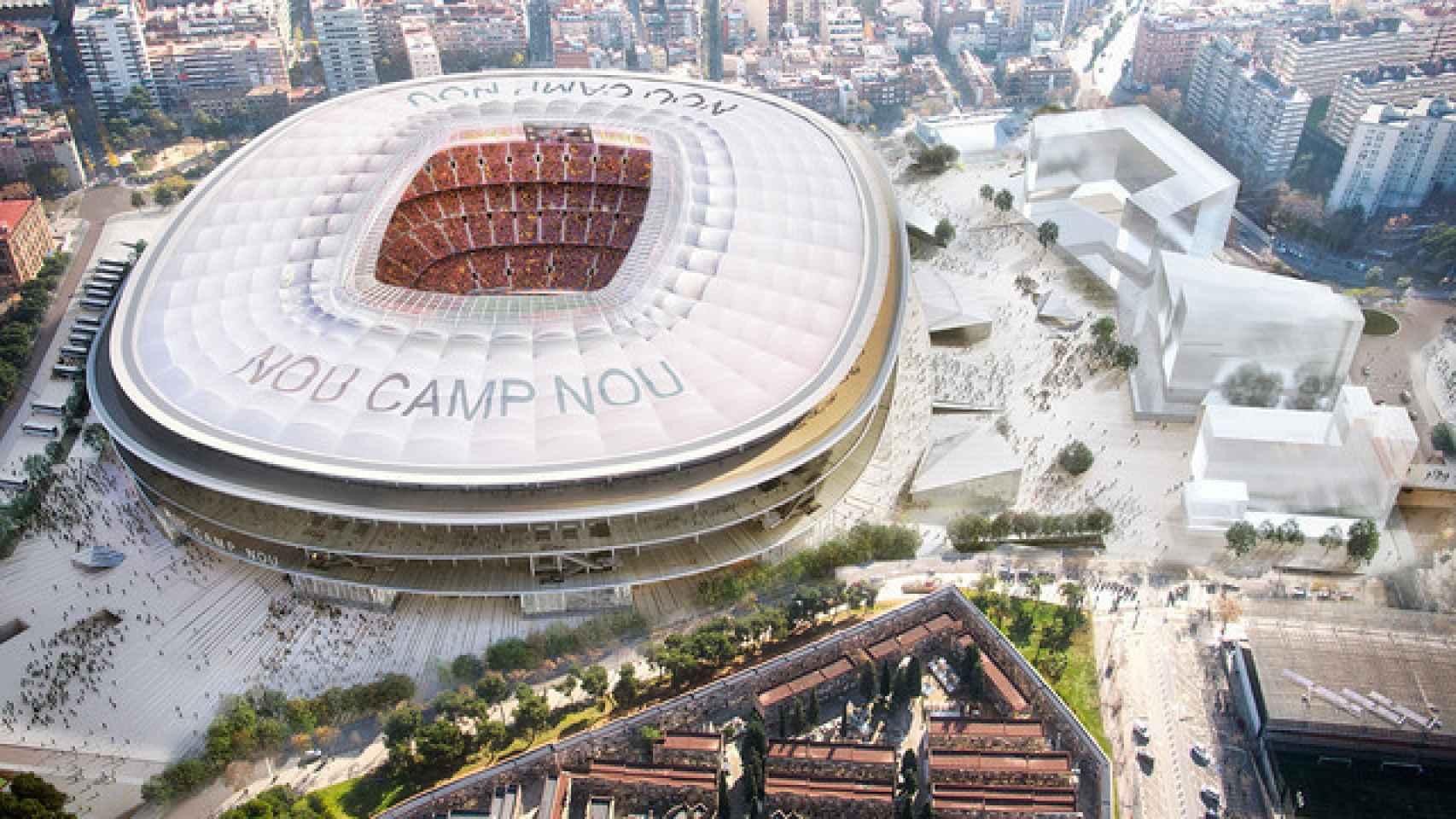 Vista aérea del nuevo Camp Nou.