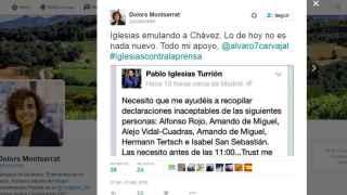El tuit con los periodistas señalados por Pablo Iglesias.