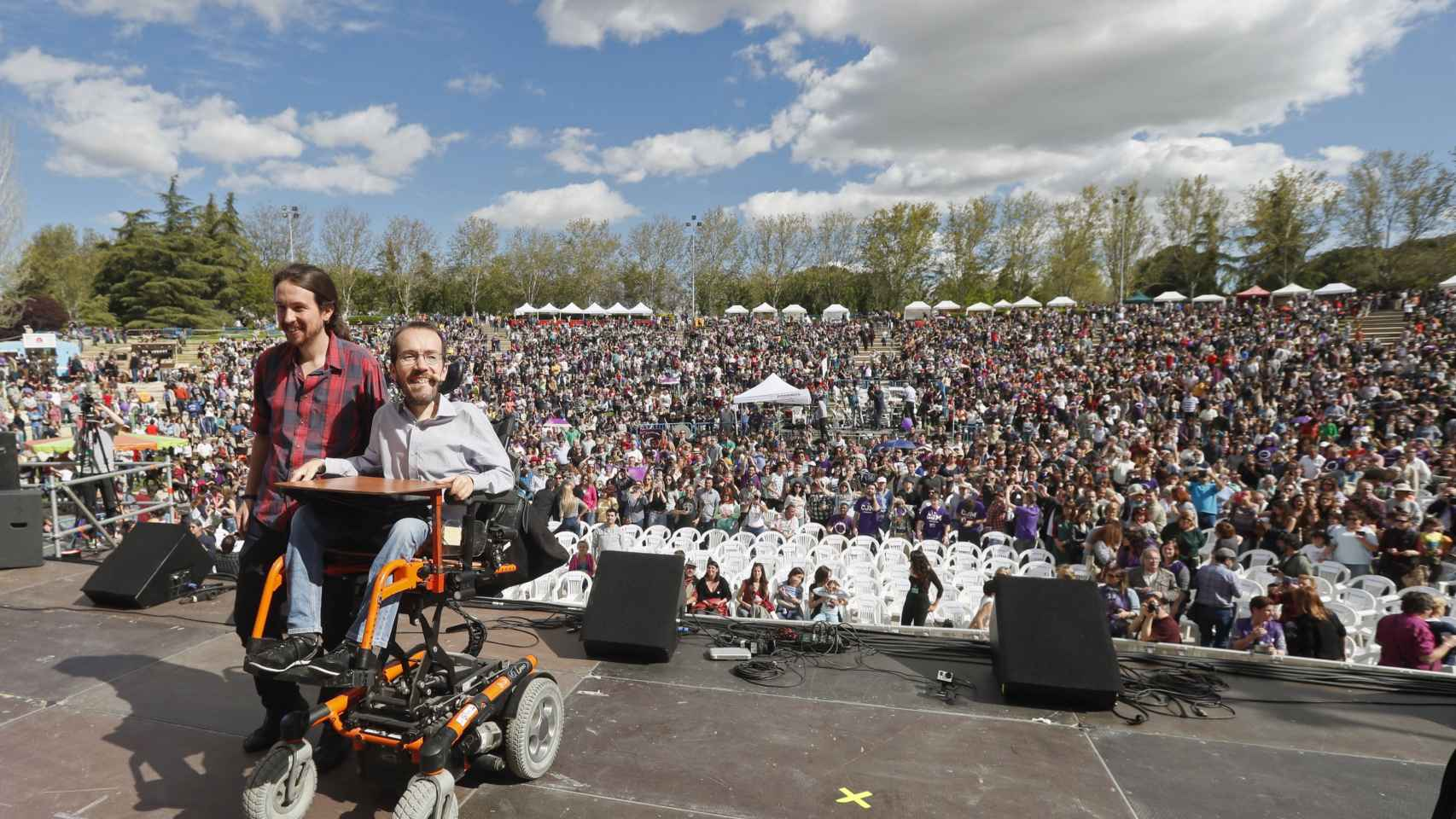 Pablo Iglesias y Pablo Echenique en un acto reciente en Madrid.