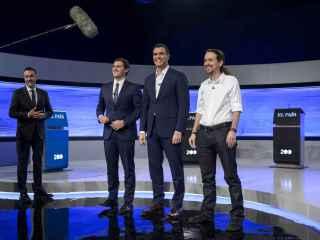Rivera, Sánchez e Iglesias en un debate electoral.