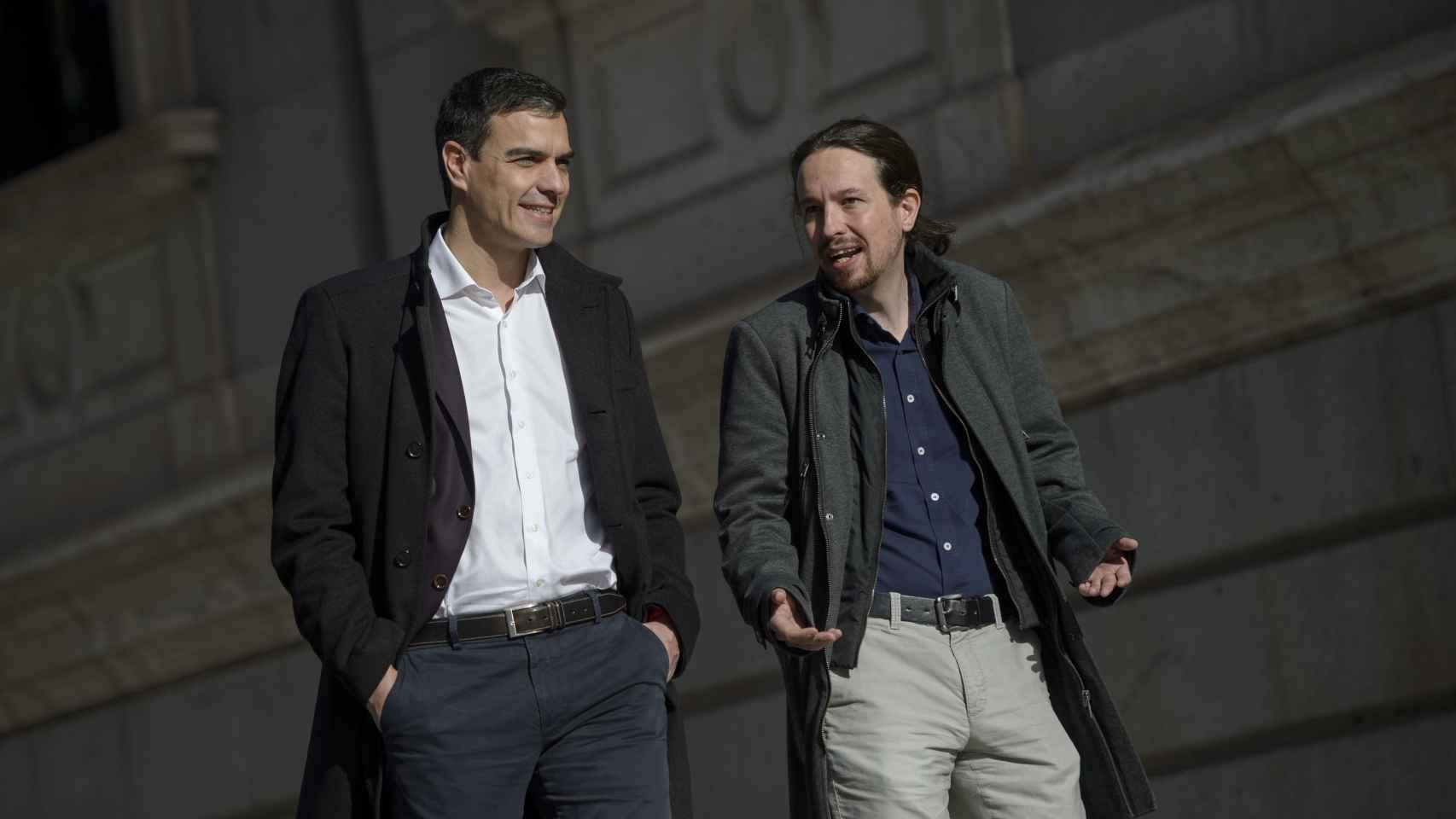 Pedro Sánchez y Pablo Iglesias en una de sus reuniones.