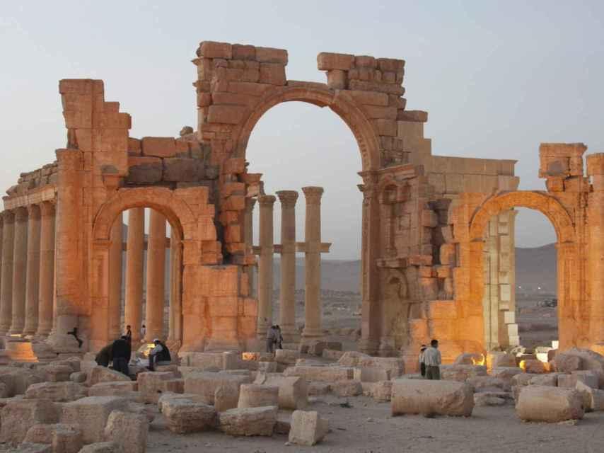 El templo de Baalshamin, ahora totalmente destruido en la ciudad de Palmira.