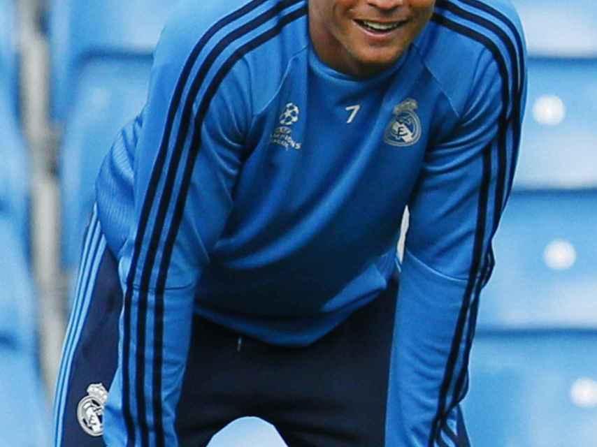 Cristiano, el lunes, durante el entrenamiento en el Etihad Stadium.
