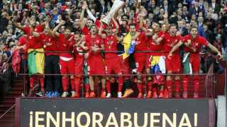 El Sevilla celebra la Europa League de 2015.