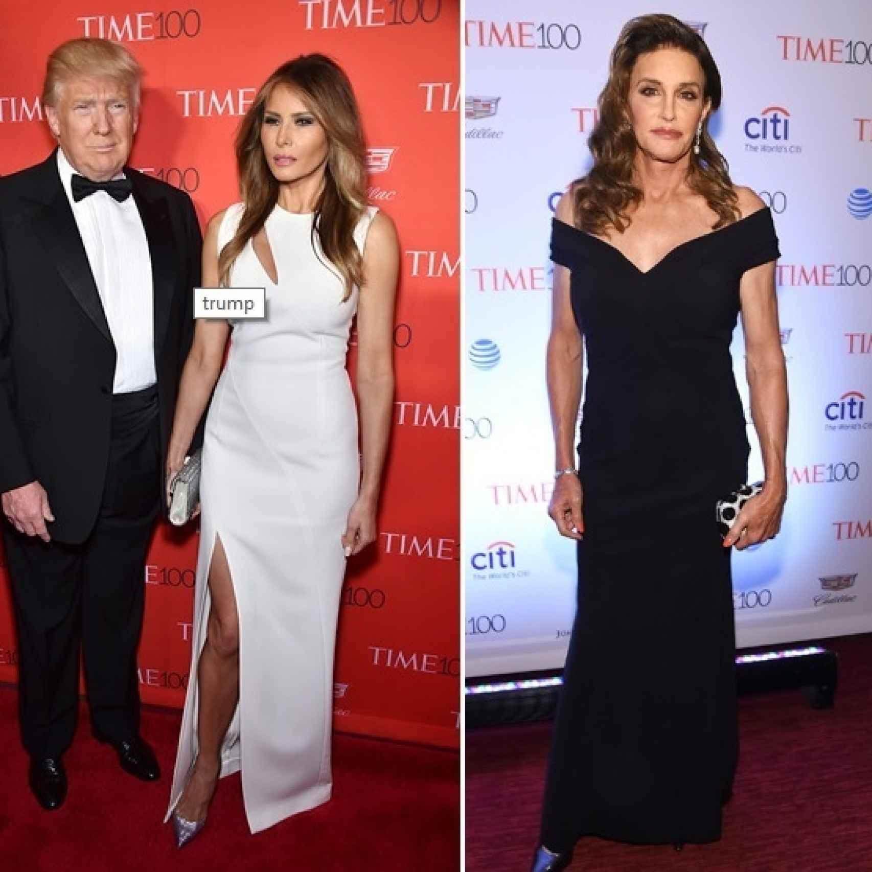 Donald con su mujer Melania y Caitlyn Jenner en la TIME 100 Gala