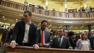 Sánchez y Chacón, este jueves en el último pleno de la legislatura en el Congreso.