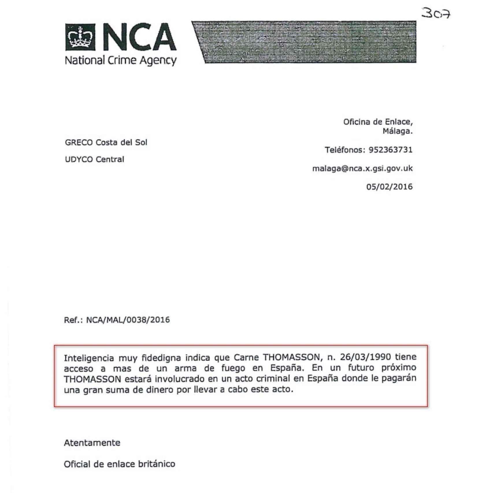 Comunicación enviada por la NCA británica.