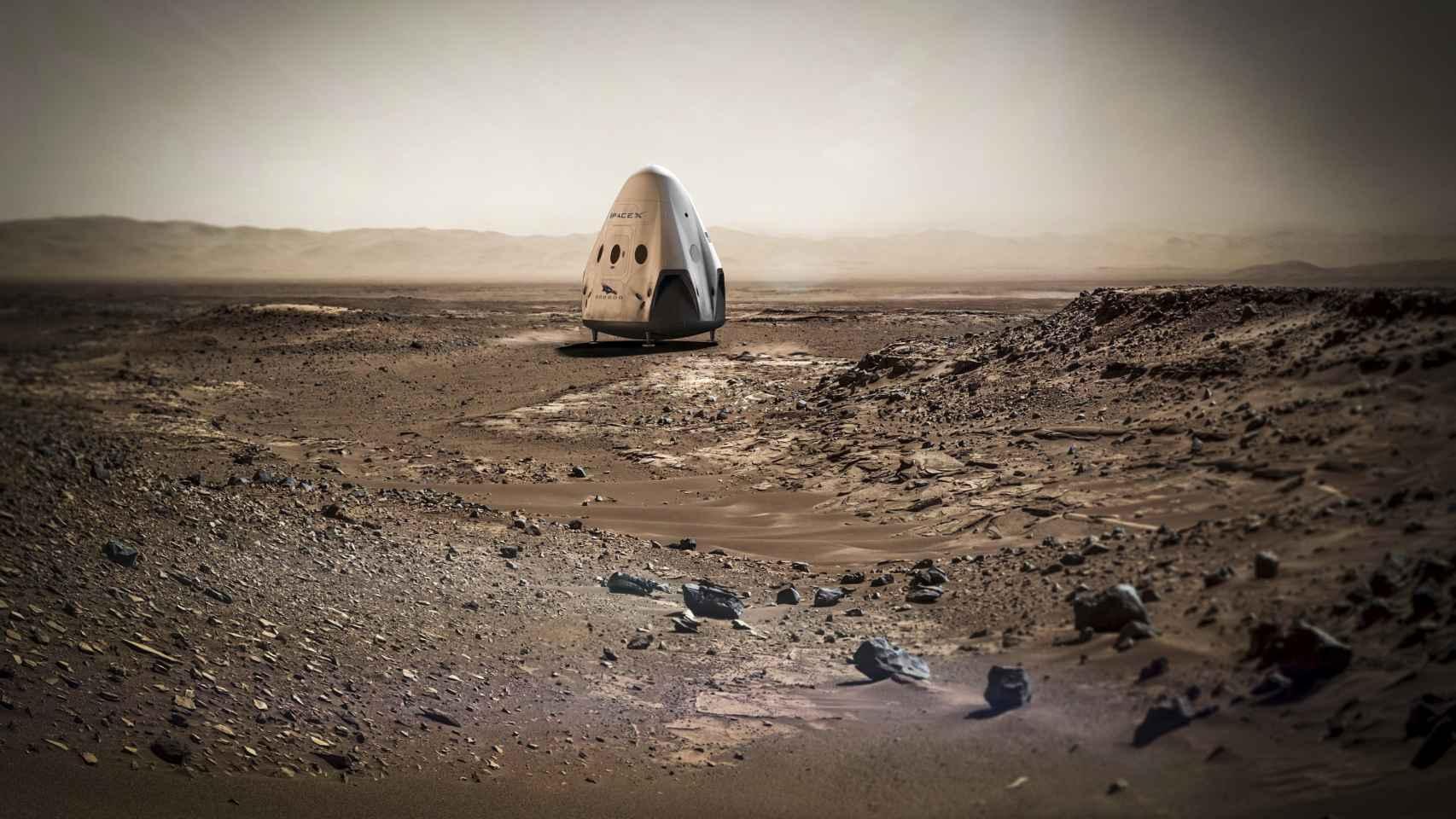 Así sería la llegada de la misión Dragon a Marte... si todo sale bien.