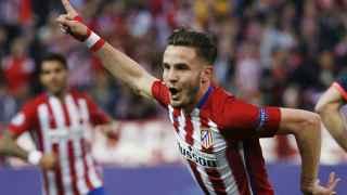 Saúl celebra su gol contra el Bayern.
