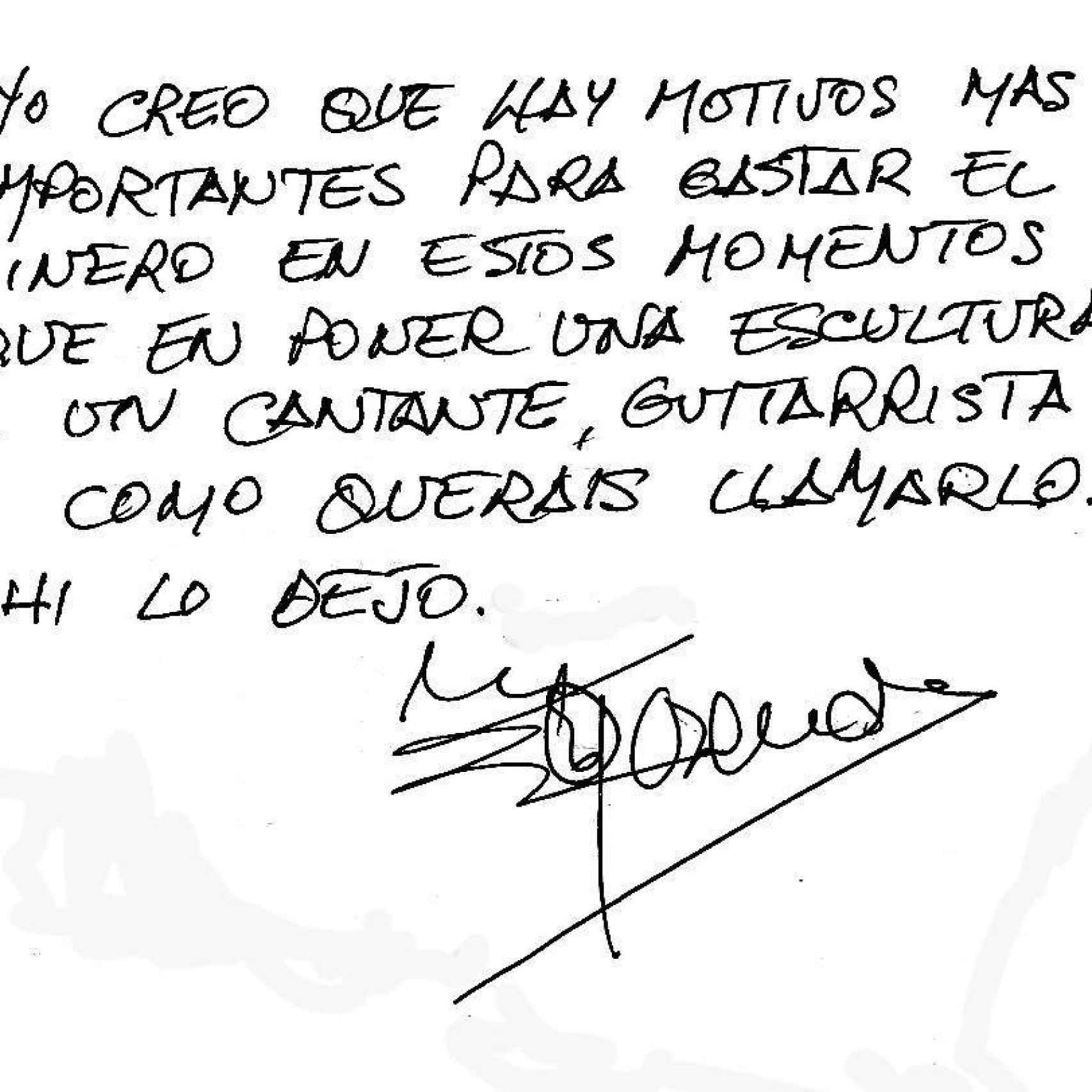 Nota de Rosendo rechazando su estatua en Carabanchel