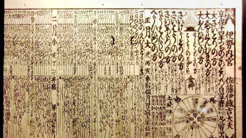Calendario japonés de 1729.