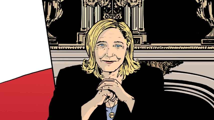 Ilustración principal del comic que sugiere a Marine Le Pen como presidenta.
