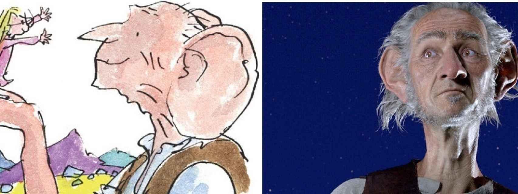 A la derecha, la ilustración de Quentin Blake; a la izquierda la versión de Spielberg.