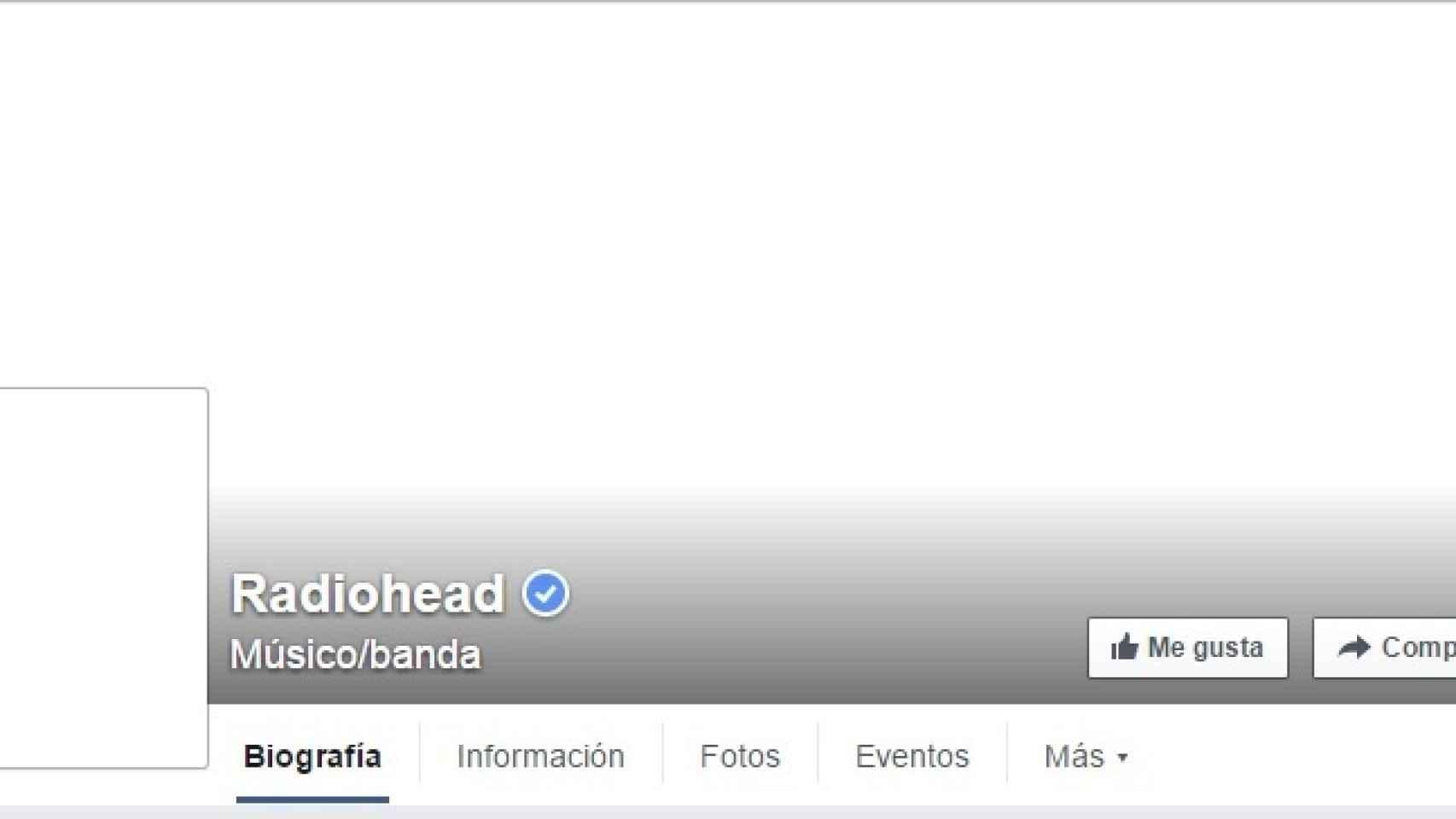 Así ha quedado la página de Facebook de Radiohead