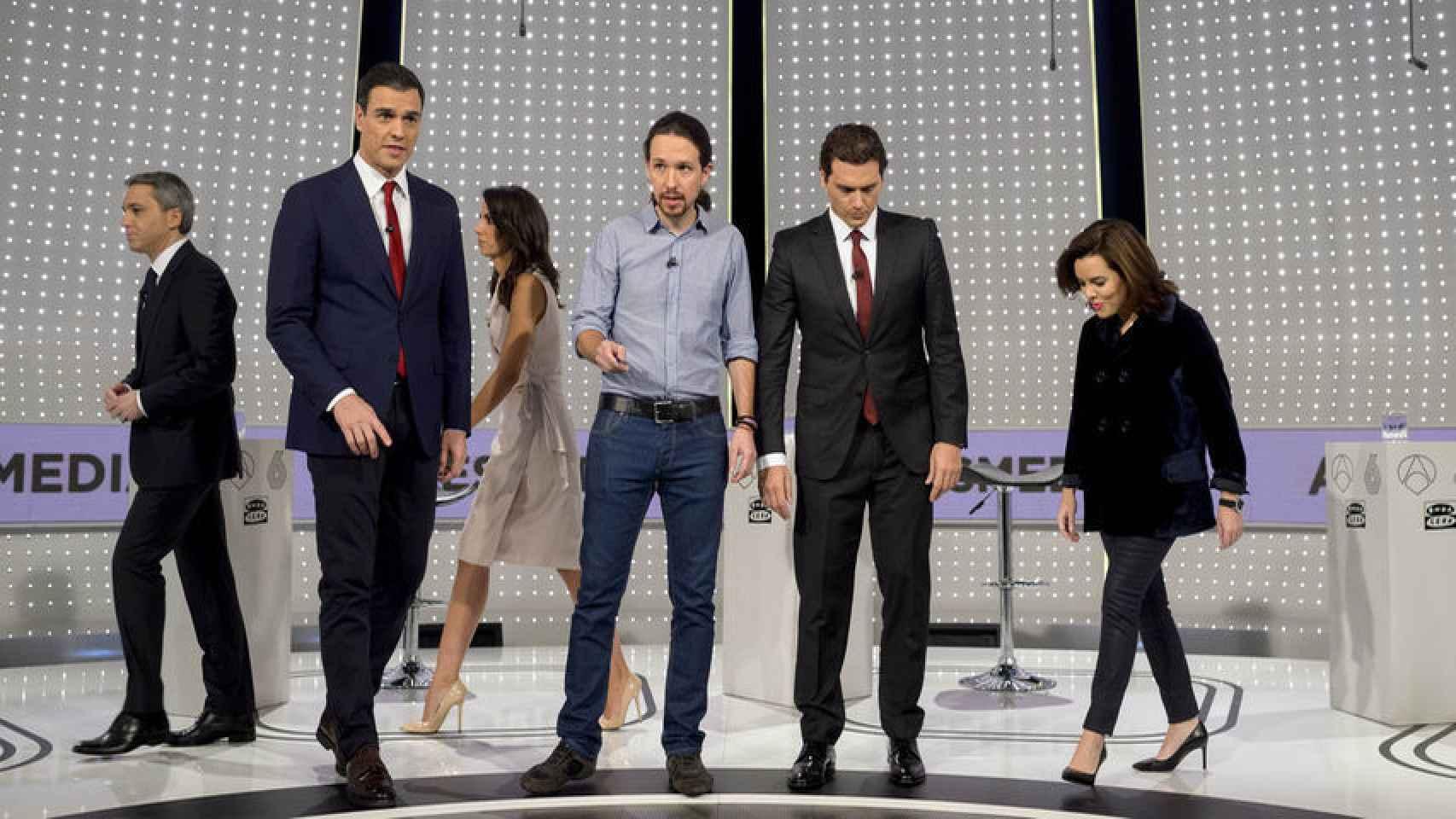 Sánchez, Iglesias, Rivera y Sáenz de Santamaría.