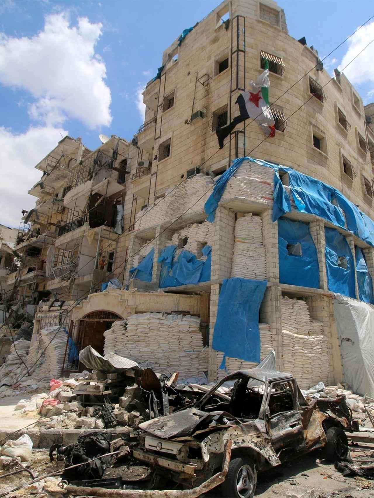 Hospital de Al Quds, en el que murió el doctor Maaz, después del bombardeo.