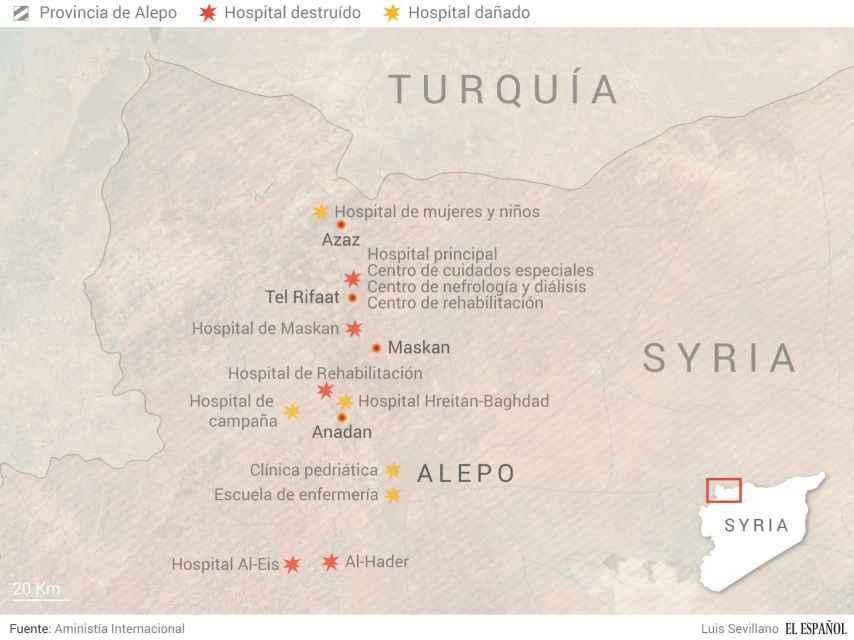 Hospitales destruidos en la provincia de Alepo (Siria).