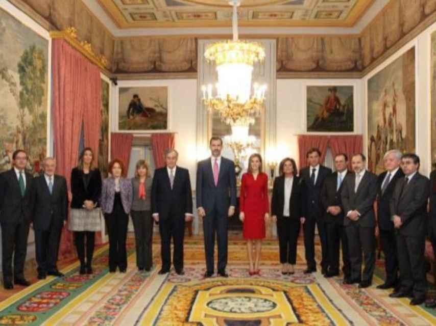 Los Reyes recibieron al consejo de administración del Patrimonio Nacional en El Pardo en 2014
