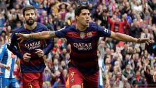 Luis Suárez celebra un gol contra el Espanyol.