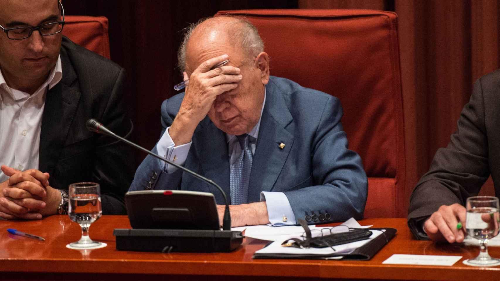 Jordi Pujol en su comparecencia en el Parlament de Cataluña.