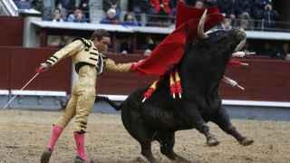 Juan Bautista durante la lidia del primero de su lote en Las Ventas