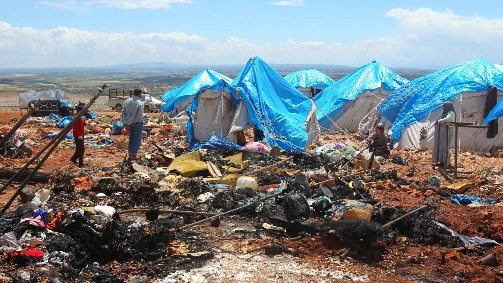 Un campamento de desplazados tras un bombardeo en Siria, en una imagen de archivo.