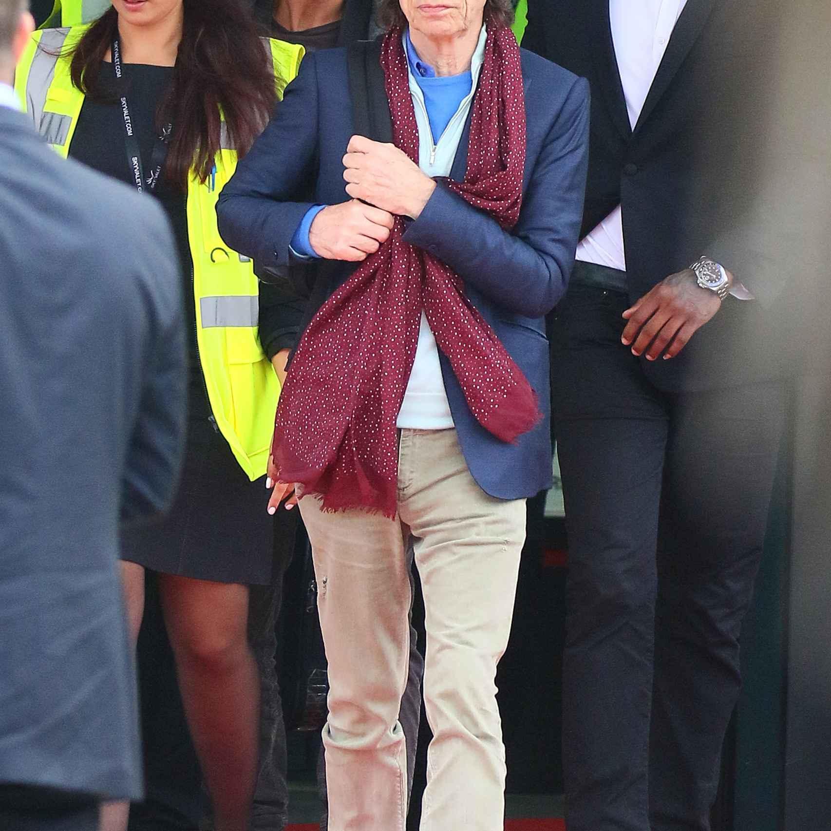 Mick Jagger llegó con su jet privado a Cannes