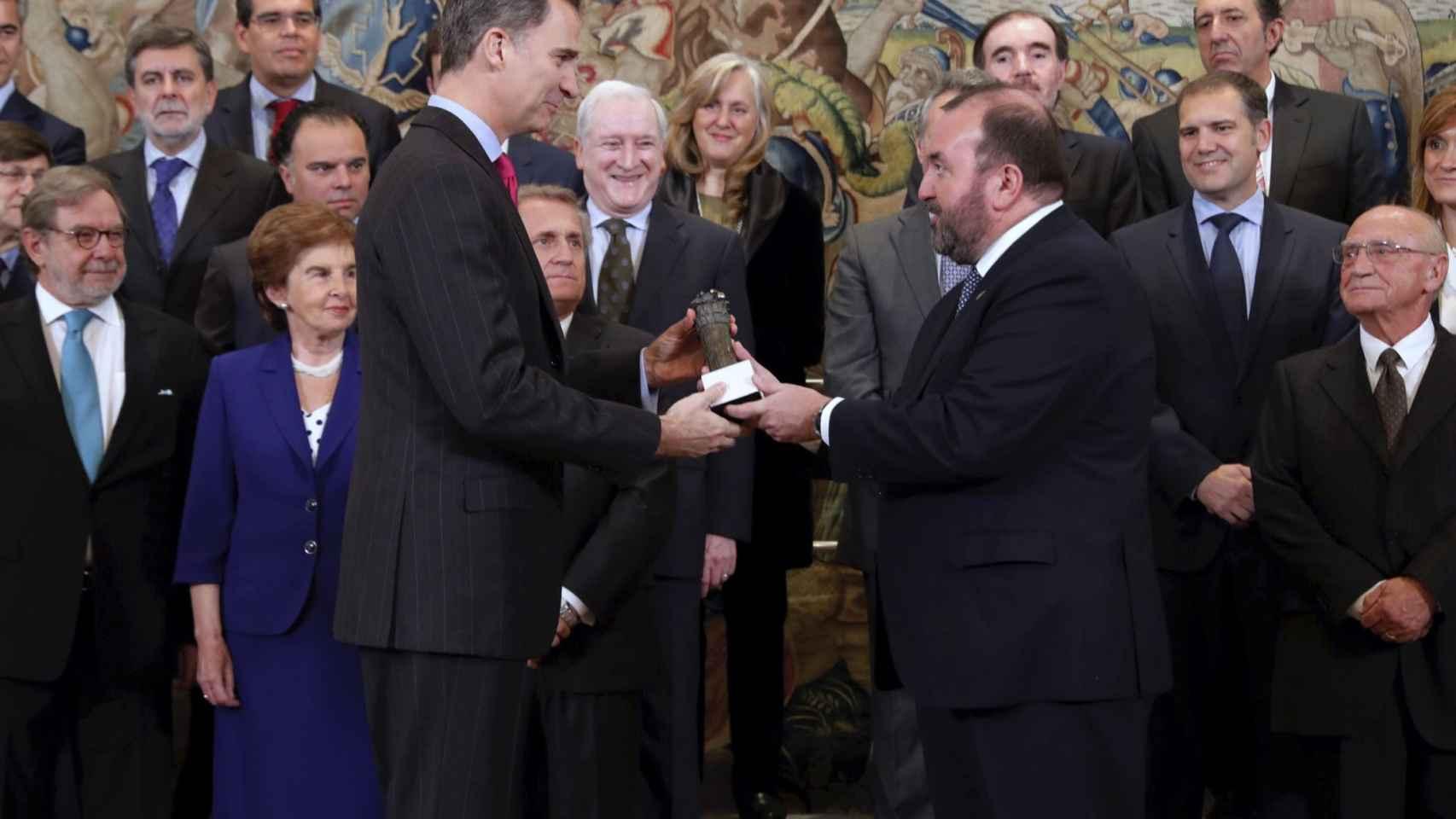 La recepción de Felipe VI, este miércoles.
