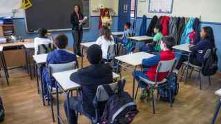 Alumnos de un colegio madrileño durante la reválida de este miércoles