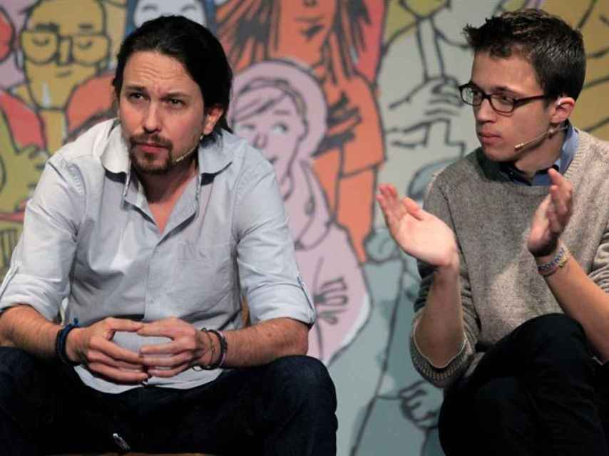 Iglesias y Errejón durante su acto este miércoles en Madrid