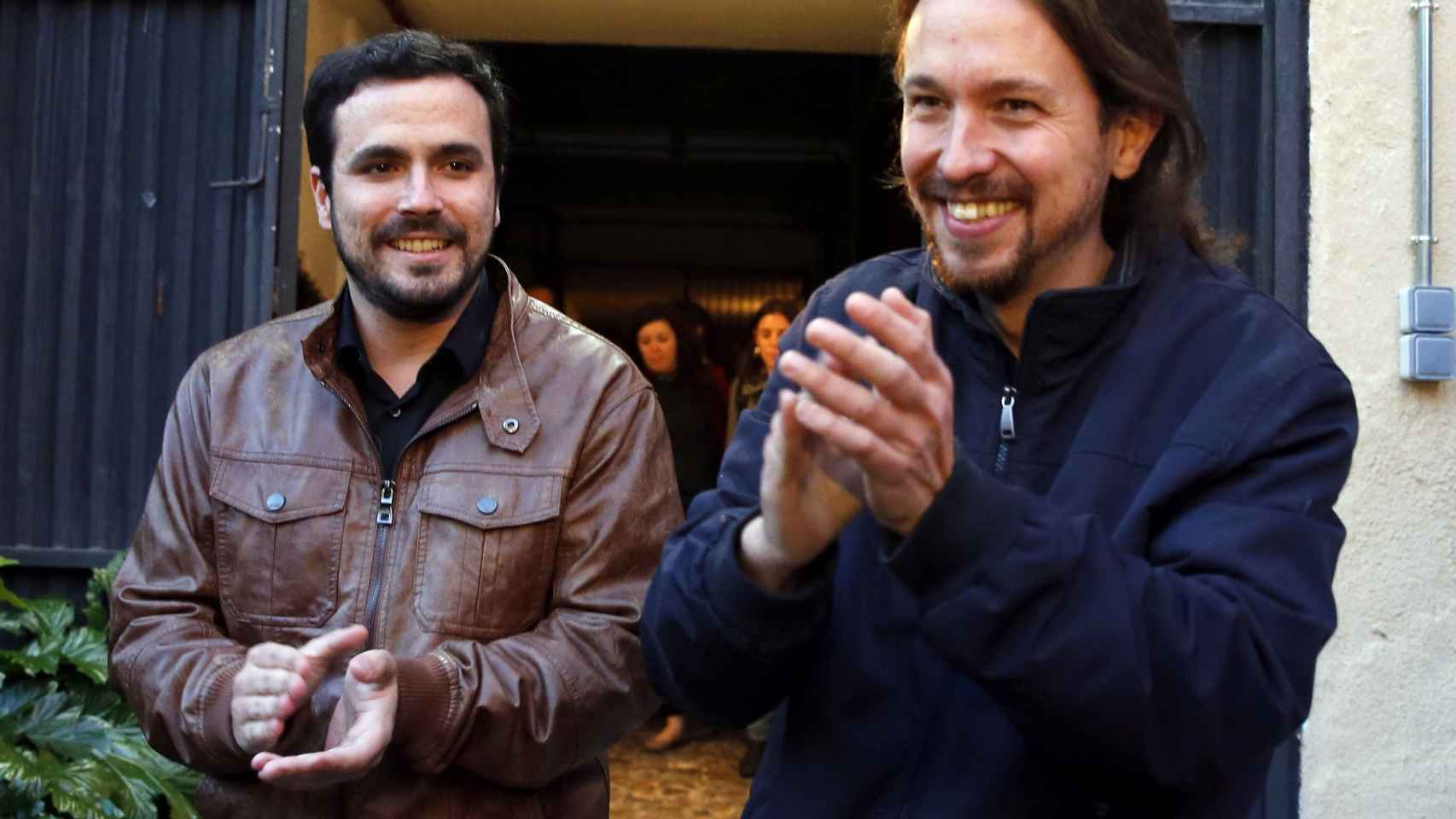 Pablo Iglesias y Alberto Garzón atienden a los medios tras el preacuerdo electoral