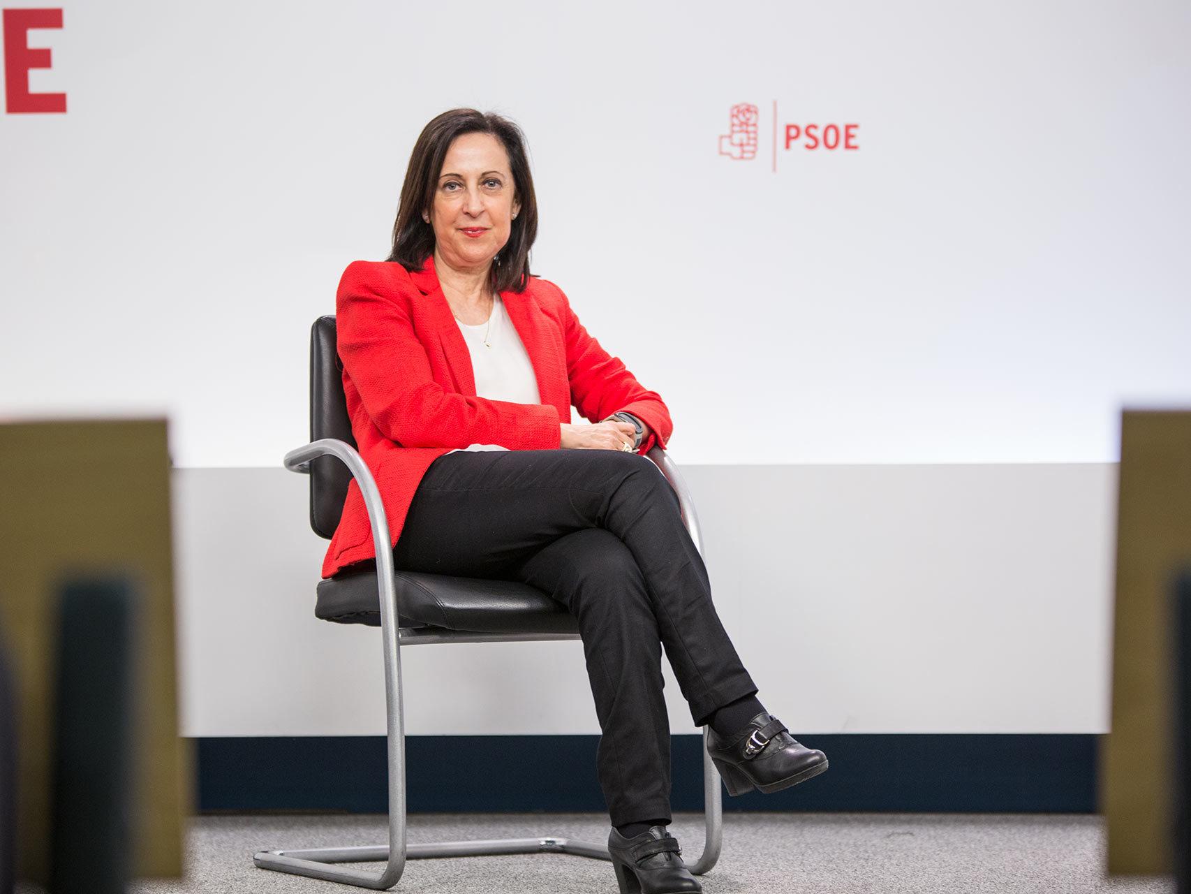 Margarita Robles, en la sede del PSOE.