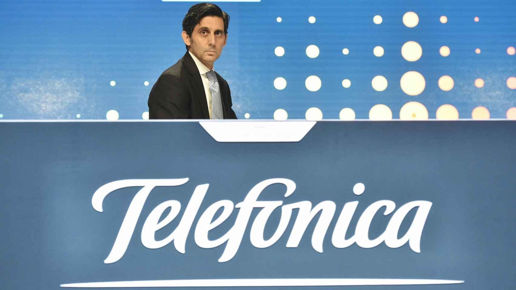 El presidente de Telefónica durante la junta general de accionistas.